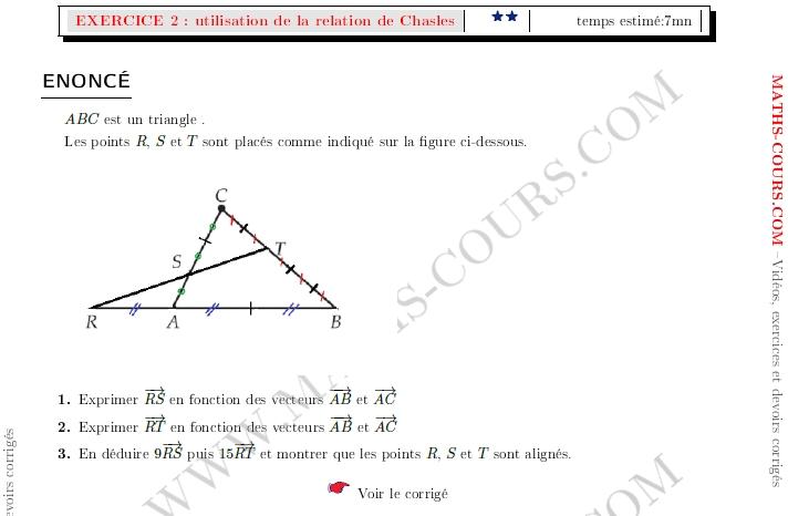 Vidéos maths secondeDécomposer un vecteur avec la relation ...